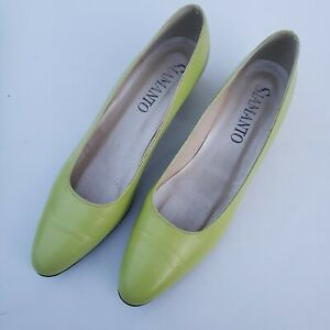1960s Siamanto Square Heels 60s Mod Lime Green Leather Slip On Shoes Size 9 S