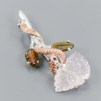 Rose Quartz Brooch Silver 925 Sterling Jewelry one of a kind /NB08947