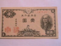 1946 Japan 1 Yen Crisp AU-CU Original Paper Money Nippon Banknote Currency P85