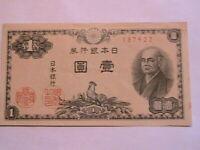 1946 Japan 1 Yen Crisp AU-CU Original Paper Money Nippon Banknote Currency P85