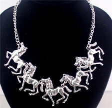 "Foals/Horse Necklace Western Antique Silvertone  16"""
