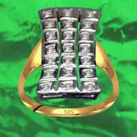 Exklusiver Art Deko Ring Echt 585 Gelbgold + Weißgold Echte Diamanten