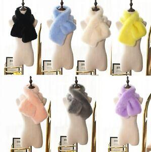 Women's Ladies Quality Faux Rabbit Fur Scarf Neck Long Warmer Wrap Collar Shawl