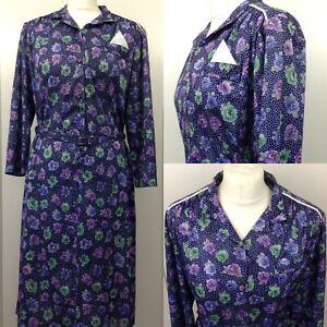 Vintage 1980s Blue Floral Shirt Tea Dress Button Down Collar Knee Length Belt 16