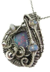 Wire-Wrapped Australian Opal Pendant with Ethiopian Opals in Sterling Silver