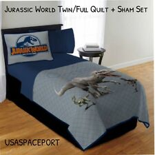 Jurassic World Dinosaur Park QUILT+Pillow SHAM SET Twin/Full Single/Double T-Rex