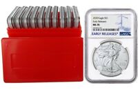 2020 1oz Silver Eagle NGC MS70 Early Releases Blue Label 10 Pack w/Case