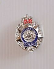 VINTAGE CHRISTMAS ISLAND POLICE METAL ENAMEL BADGE COAT LAPEL TIE BROOCH PIN