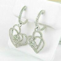 NEW Women's 2.00 Ct Round Cut Diamond Drop Dangle Earring 14K White Gold Finish