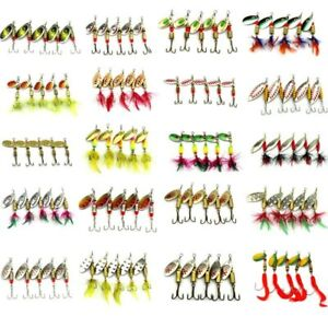 10PCS/Set Fishing Lure Metal Spinner Bait Bass Tackle Crankbait Spoon Trout Bass