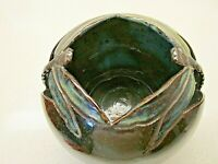 Vtg Signed Hand Thrown Reticulated Pottery Vase/TLite~Dragonflies~Stunning Piece
