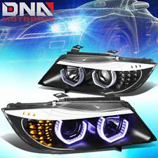 FOR 2009-2012 BMW 3-SERIES E90 PAIR BLACK HEADLIGHT W/BLUE LED 3D CRYSTAL U-HALO