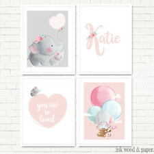 BABY GIRL Nursery  Bedroom Floral Elephant Personalised Wall Art Prints