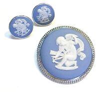 Stamped, Sterling Silver Wedgwood Jasperware Cameo Pin & Earrings Set - Cupid