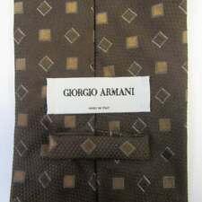 """Giorgio Armani Mens Brown Geometric Pattern 100% Silk Tie, 58"""" Length"""