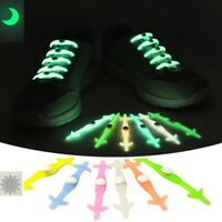 12PCS Silicone Shoelaces No Tie Glow In Dark Shoe Lace Sneakers Trainers Strings