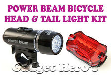 Power Beam LED Head & Tail Light Kit For Bike Bicycle Cycle Torch Headlight Lamp