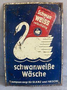 Altes Werbeschild Thompson Schwan Weiss Waschpulver Blechschild Reklame Schild