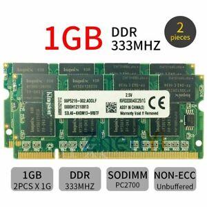 Für Kingston 2GB 2x 1GB PC1-2700 KVR333X64SC25/1G Laptop DDR1 SDRAM Speicher DE
