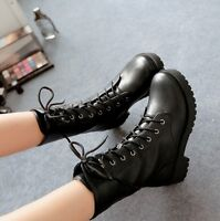 Ladies Lace Up Rivet Punk Motorcycle Casual Shoes Military Combat Ankle Boots UK