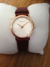 BERING Brown calf Skin Leather CLASSIC POLISHED ROSE GOLD WATCH White Face NEW