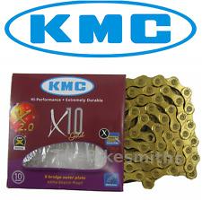 KMC X10 GOLD Ti-N 10 Speed Bike Chain Fit Shimano Campagnolo & SRAM