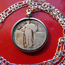 "1920-1930 Silver American Standing Liberty Quarter on a 30"" 925 Silver Chain"