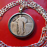 """1920-1930 Silver American Standing Liberty Quarter on a 30"""" 925 Silver Chain"""