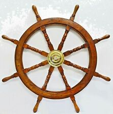 Nautical Decor Sheesham Wood Decorative Ship Wheel with Brass Center Home 36 inh