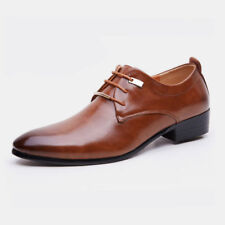New Men's Casual Oxfords Leather Shoes Pointed Wedding Formal Dress Lace Up