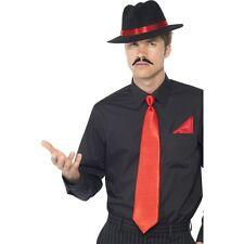 Uomo Gangster INSTANT KIT Donna Ragazza Costume Cappello Nero Rosso Cravatta Hanky Costume