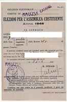 TESSERA ELETTORALE - ELEZIONI ASSEMBLEA COSTITUENTE - 1946