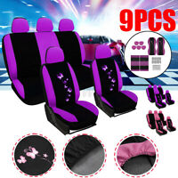 9X Full Set Car Seat Cover Purple Printed Polyester Protector Washable Universal