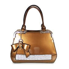 Ladies Fashion Tote Handbag In Bronze Faux Patent Leather With Gold Detailing