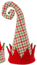 Christmas tree topper elf houndstooth hat Raz Imports 3516376 red cuff