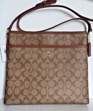 NWT Coach 58297 Signature File Bag Crossbody Coated Canvas handbag Khaki /Saddle