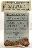 1993 NIP Vtg Counted Cross Stitch Embroidery Kit All American Sampler 9x12 7548F