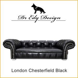 Hundesofa Hundebett Sofa Bed Couch LONDON Chesterfield Black Antik  XL