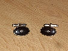 VINTAGE STERLING SILVER (925) AND BLACK OVAL ENAMEL CUFF LINKS