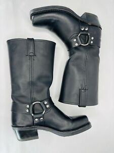 FRYE Harness 12R Women's Black leather Motorcycle Boots Size 7 M