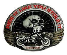 Biker Belt Buckle Wheel Skull & Chopper Motorcycle Bike Authentic Dragon Designs