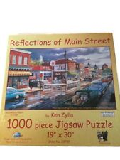 """Reflections Of Main Street 1000 Piece Puzzle By Ken Zylla 19"""" X 30"""" New In Box"""