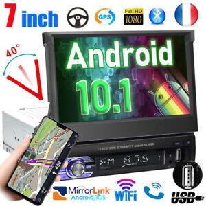 """Android 10 Autoradio stéréo 1DIN 7 """" MP5 de voiture à écran tactile GPS BT AUX"""