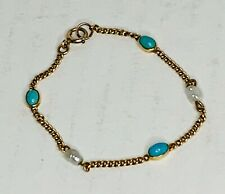 """14K Gold Turquoise and Natural Pearl Bracelet 6.5"""", 4g"""