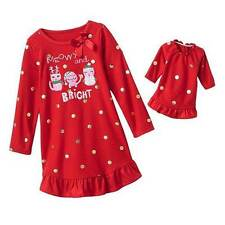 NWT Girls Fleece Red Christmas Nightgown Size 5 Doll Gown Winter Pajamas Cat Pjs
