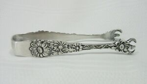 Antique Sterling Silver Tongs Repousse Daisies Flowers Paye & Baker