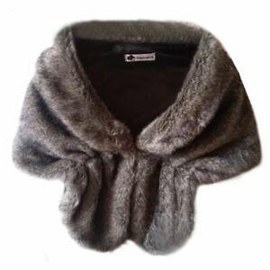 Women Warm Faux Fur Scarf Long Shawl Wrap Shrug for Bridal Wedding -- Brown