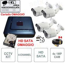 KIT VIDEOSORVEGLIANZA   4 CANALI I P2P + Telecamere 3000 + HD SATA + CAVI + Alim