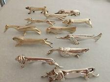 Christofle . O.GALLIA. Rare série complète 12 porte-couteaux animaux .Sandoz