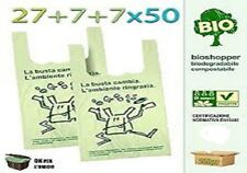 500 SHOPPER PLASTICA 27+7+7x50 BUSTE BIODEGRADABILI COMPOSTABILI IN MATER-B